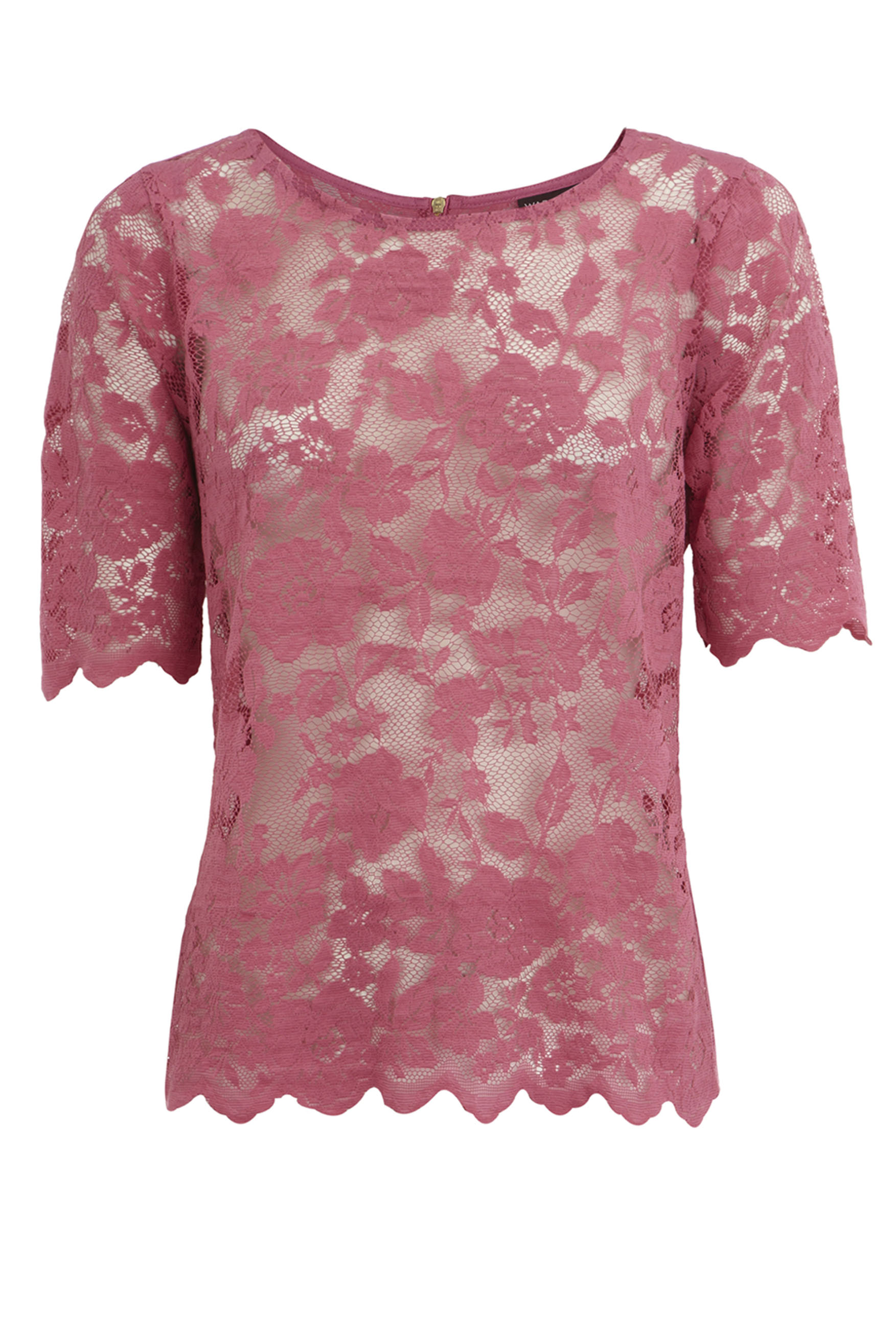 Warehouse Pink Lace Blouse - Tie Blouse
